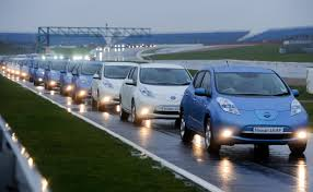 nissan leaf fast charger nissan leaf breaks electric car convoy record with 225 cars