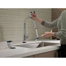 touch2o kitchen faucet delta faucet 9113t dst essa polished chrome pullout spray kitchen