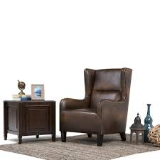 Leather Wingback Chair Simpli Home Taylor Distressed Brown Bonded Leather Wing Back Arm