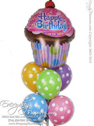 cake and balloon delivery poka dot balloons with a happy birthday cup cake mylar balloon by