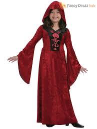 girls hooded vampire costume halloween vampiress fancy dress