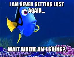 Getting Lost Meme - i am never getting lost again wait where am i going dory from