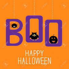 hanging word boo with spider owl and pumpkin happy halloween