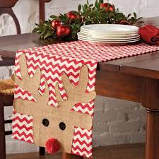 burlap christmas table runner mud pie holly jolly rudolph the red nose reindeer christmas table