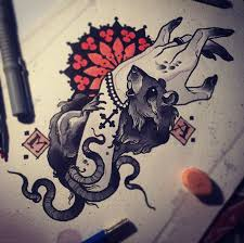 traditional black and white screaming pig and rose tattoo design