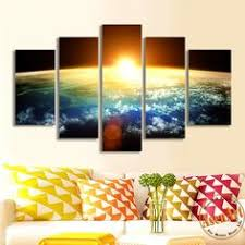 Art Decor Home 5 Pieces Multi Panel Modern Home Decor Framed Lake Sunset