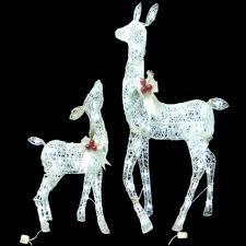 lighted white grapevine deer with led lights set of 2 lg 42
