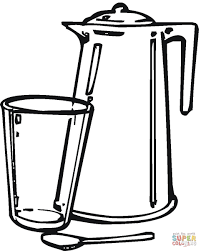 teapot and glass coloring page free printable coloring pages