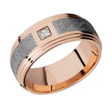 gold mens wedding band men s 14k gold wedding band with gibeon meteorite inlay and