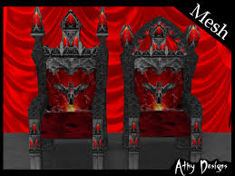 King And Queen Throne Chairs Second Life Marketplace Mesh Vampire Bat Thrones King U0026 Queen