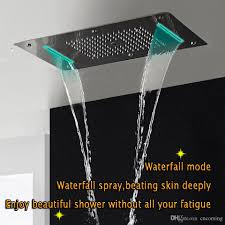 thermostatic shower panel stainless steel led rain waterfall big