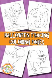 halloween tracing coloring pages free printable