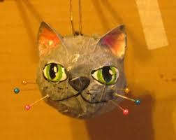 gray cat ornament etsy
