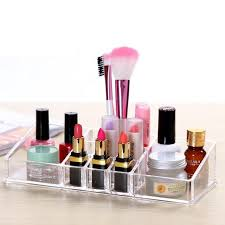 clear acrylic makeup brushes holder drawers lipstick nail polish