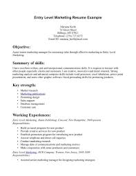 Objective Resume Examples Entry Level Resume Objective Marketing Coordinator