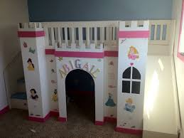 Bunk Bed Castle White Pink Wooden Castle Bunk Beds With White Slide And White Blue