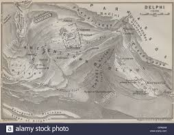 Delphi Greece Map by Delphi Ground Plan Mount Parnassus Valley Of Phocis Greece