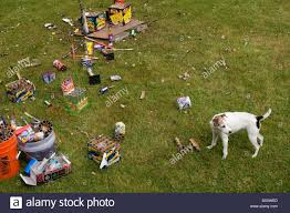 day after backyard fireworks display on july 4th clean up the