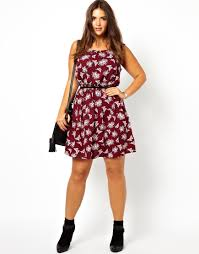 asos new look inspire butterfly print waisted dress in red lyst