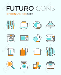 line icons with flat design elements of kitchen utensils