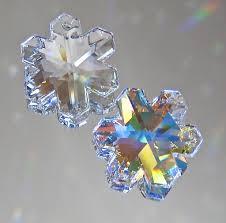 swarovski set of two 25mm snowflake prism ornaments