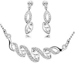white gold crystal necklace images Crystal white gold plated necklace and earring jewelry set price jpg