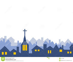 church and house silhouettes isolated stock photo image 3751830