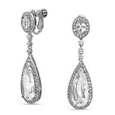 clip on chandelier earrings cz teadrop bridal chandelier earrings back clip on