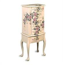 Ebay Jewelry Armoire Coaster Jewelry Armoire Ivory Finish Wood With Hand Painted Roses