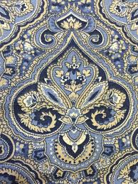 Blue Damask Upholstery Fabric Blue Navy Cream Medallion Damask Upholstery Fabric By The