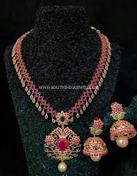 necklace with pink stone images One gram gold necklace with pink stones south india jewels jpg