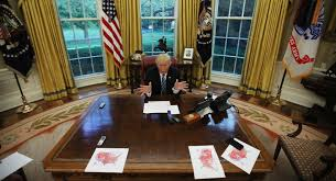 trump in oval office trump at 100 days an oval office photo perfectly illustrates