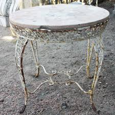 Repainting Wrought Iron Furniture by Vintage Argentine White Painted Wrought Iron Stone Top Round Garden Ta