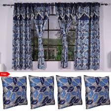 Blue Window Curtains by Pack Of 4 Window Curtains Free 4 Cushion Covers By Cortina