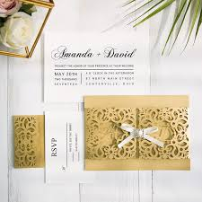 gold laser cut wedding invitations with matching rsvp