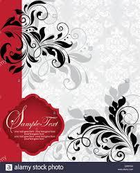 Black Invitation Card Vintage Invitation Card With Ornate Elegant Abstract Floral Design