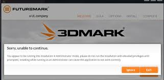 error when trying to install 3dmark software discussion