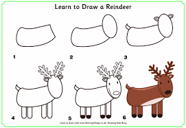 reindeer colouring draw grid drawing perfect