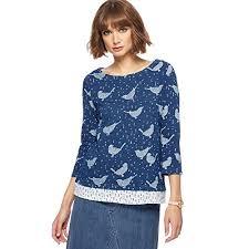 mantaray clothing debenhams mantaray navy bird print split back top mantaray clothing