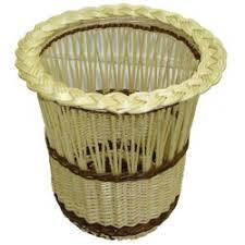 poubelle bureau poubelle de bureau demi ajourée osier blanc ou 2 tons la vannerie
