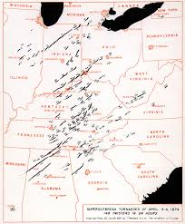 4 Corner States Map by Looking Back At The April 3 4 1974 Super Outbreak U S Tornadoes