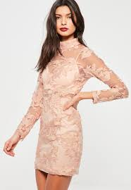 pink high neck long sleeve embroidered lace bodycon dress missguided