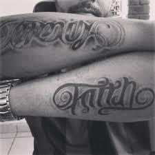 family faith ambigram tattoos on arms tattooshunt com