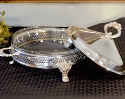 silver plate round buffet stand u0026 glass baking dish silver