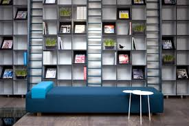 Modern Home Library Interior Design Furniture Glamorous Modular Bookshelves With Blue Chaise Lounge