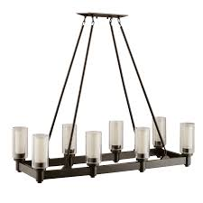 8 light linear chandelier in olde bronze circolo collection
