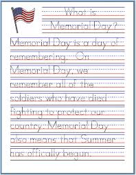 memorial day handwriting worksheet free printable improving