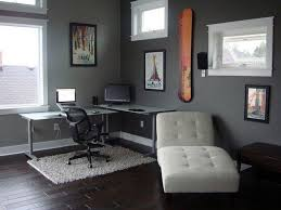grey wall color for modern home office ideas with sleek corner