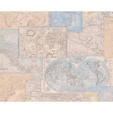 Vintage Map Wallpaper by As Creation Atlas Mosaic Pattern Motif Textured Vinyl Wallpaper 664310