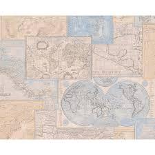 Vintage Map Wallpaper by As Creation Atlas Mosaic Pattern Motif Textured Vinyl Wallpaper 664310